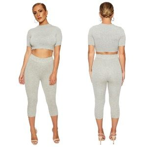 Naked wardrobe crop top high waist leggings set